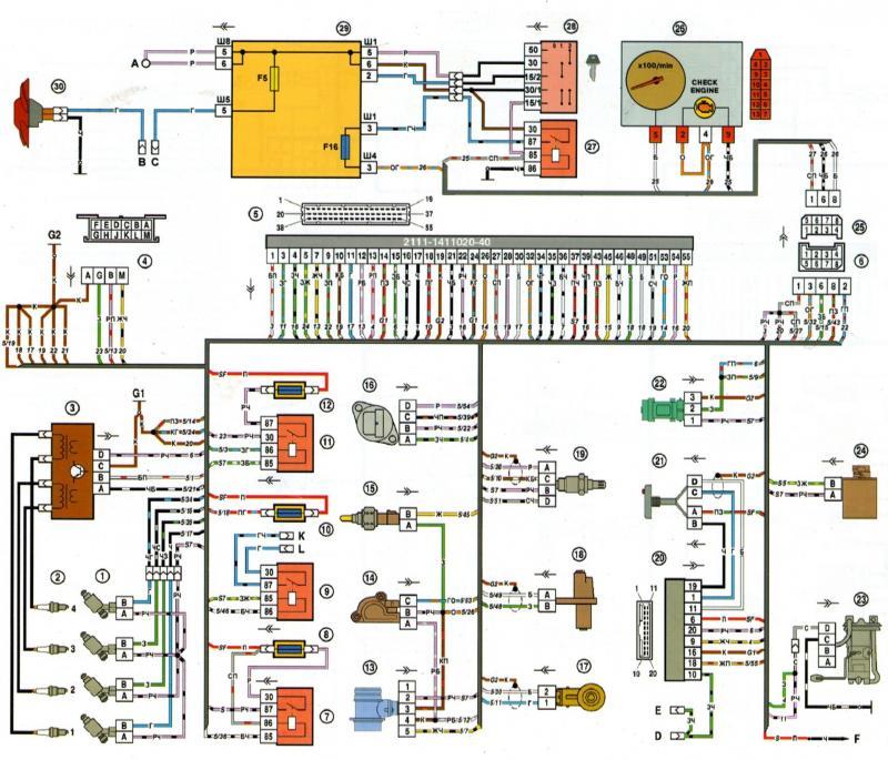 06 nizkaya - Электросхема ваз 2109 инжектор высокая панель