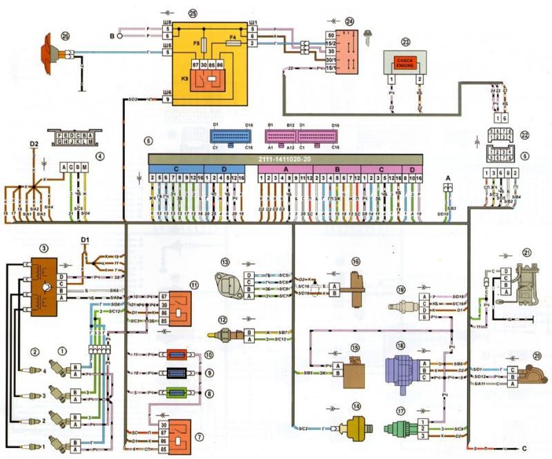 07 nizkaya - Электросхема ваз 2109 инжектор высокая панель